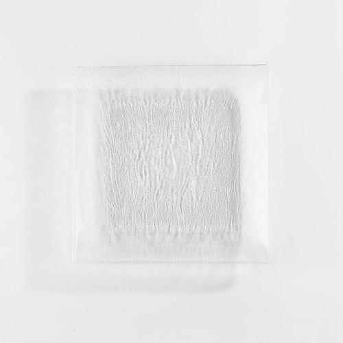 Assiette plate carrée en verre